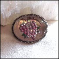 Bavarian Pin Iridescent Glass Grapes Brooch 1950s Vintage Jewelry