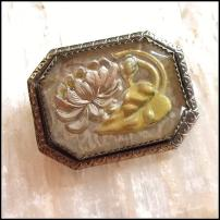Bavarian Pin Intaglio Glass Flower Brooch 1940s Vintage Jewelry