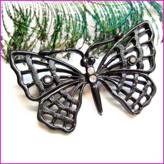 Butterfly Pin Old Japanned Cast Metal Brooch 1950s Vintage Jewelry