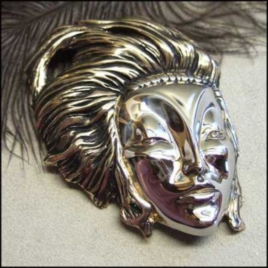 Art Deco Pin Silver Gold Lady Face Brooch Signed Vintage Jewelry