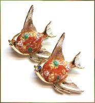 Angel Fish Pins Tropical Pair Orange Glass Bellies 1960s Vintage Jewelry