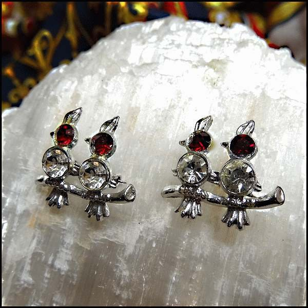 Bird Scatter Pins Pr Silver w Red Rhinestones 1950s Vintage Jewelry