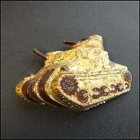 British Tank Pin WWII Celluloid Military Brooch 1940s Vintage Jewelry