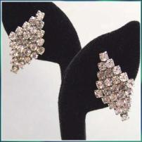 Art Deco French Earrings or Shoe Clips Grey Diamonds 1950s Jewelry