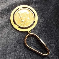 vintage key ring,gold coin,jfk coin,mens jewelry