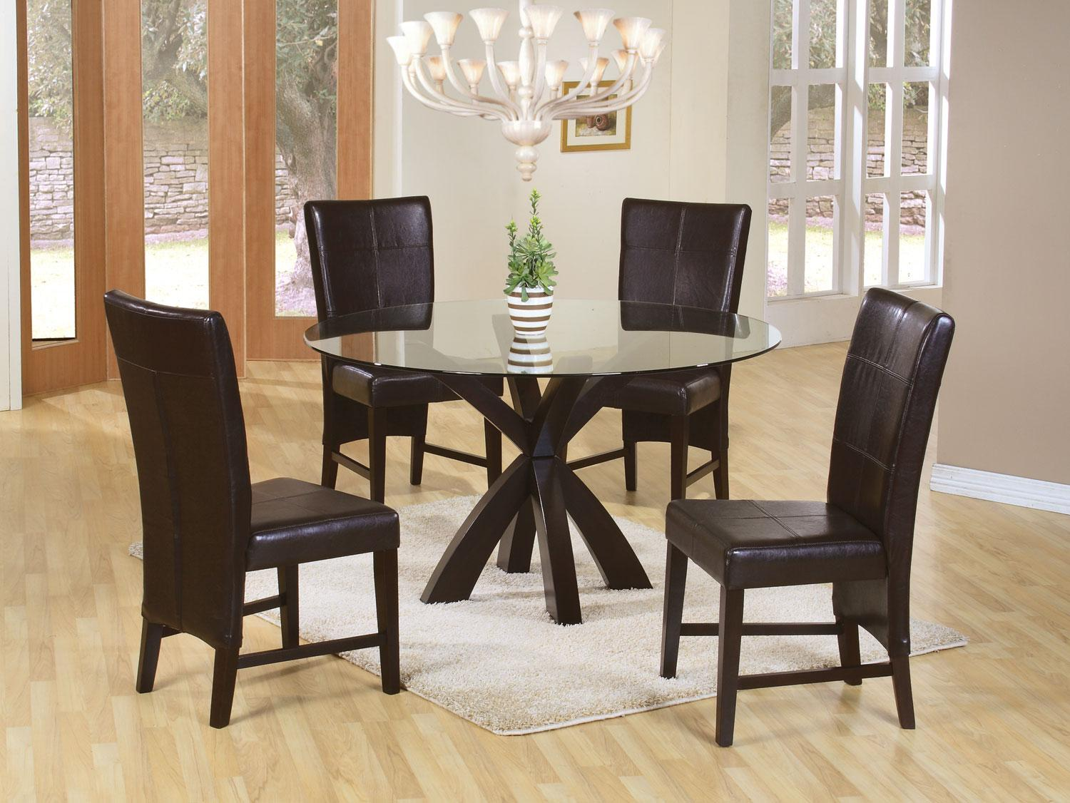 a1bab4cc2a6 5 Pc Chocolate Dining Set with Parson Chairs