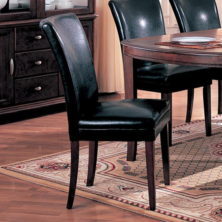 Black Parsons Chair - Leather like Parsons Chair - Parsons Chair for Sale - LaPorta Furniture - Discount Online Furniture Store