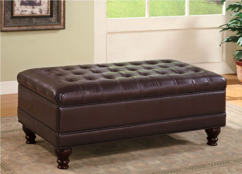 Brown Storage Ottoman - Tufted Storage Ottoman - Large Storage Ottoman - Discount Online Furniture