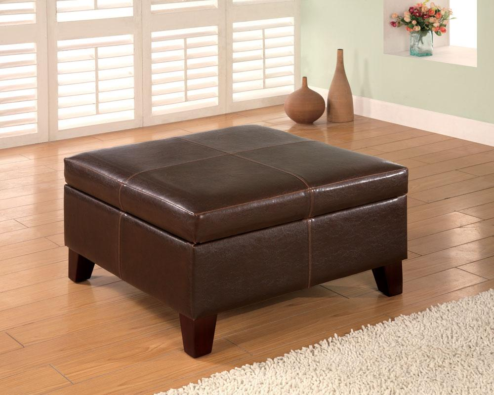 Dark Brown Storage Ottoman - Large Ottoman - Square Storage Ottoman - LaPorta Furniture - Discount Online Furniture