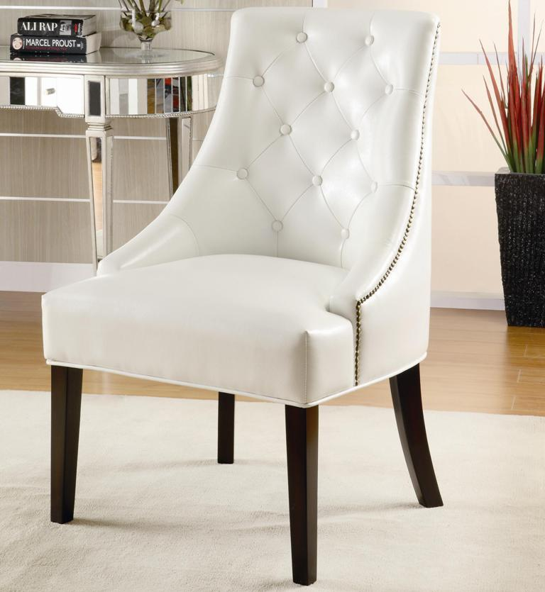 Swell White Leather Tufted Accent Chair Caraccident5 Cool Chair Designs And Ideas Caraccident5Info