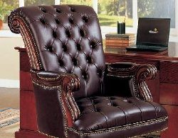 Traditional Leather Office Chair   Executive Leather Office Chair    Discount Leather Office Chair   Burgandy