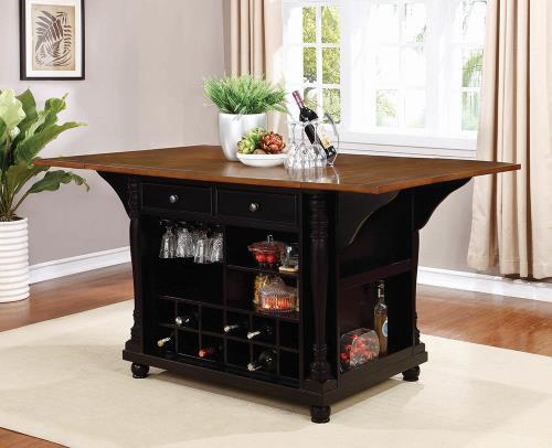 Black Kitchen Island - Cherry Kitchen Island - Kitchen Island with Wine Rack - Affordable Kitchen Island - Discount Online Furniture