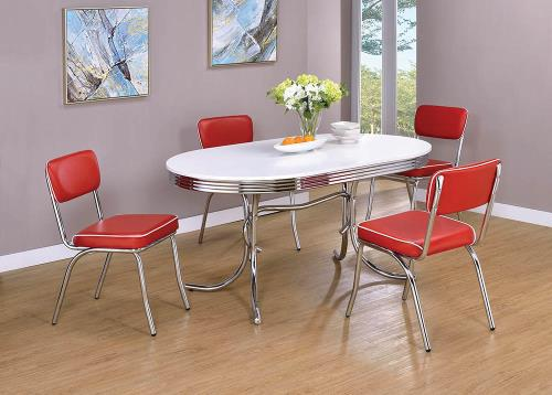 Diner Style Nostalgic Oval 5 Pc Dining Set, 50s Dining Room Table