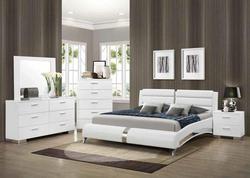 White and Chrome Platform Bed|Roma Platform Bed|Coaster Platform Beds