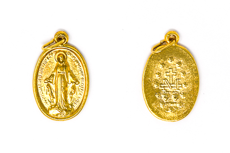 Gold Oval Miraculous Medal.