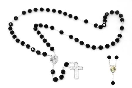 925 Black Crystal Rosary Beads.