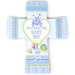 Baby Boy Porcelain Cross.