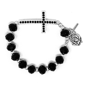 Black Cross Rosary Bracelet.
