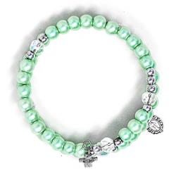 Blue Memory Wire Rosary Bracelet.