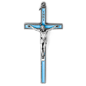 Enamel Blue Metal Crucifix.