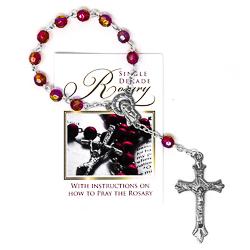 Single Decade Glass Ruby Rosary.