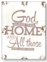 Distressed Wood Wall Plaque God Bless This Home.