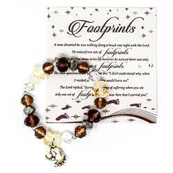 Footprints Glass Bracelet With Charm.
