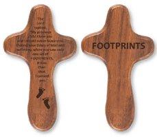 Footprints Walnut Holding Cross