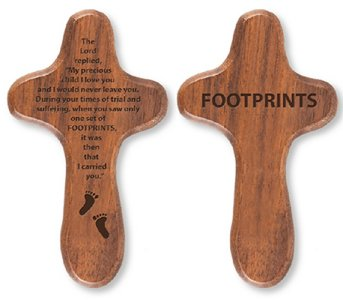 Footprints Walnut Holding Cross