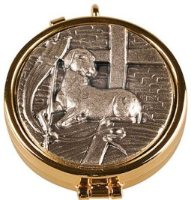 Pyx in Antique Silver & Lamb Motif.