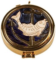 Gilt Pyx with Enamel Fish Motif.