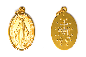 Gold Miraculous Medal 30mm.