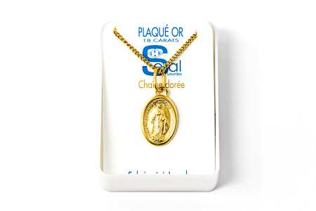 Gold Plated Miraculous Medal Necklace.