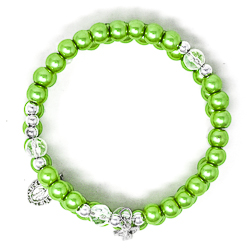 Green Memory Wire Rosary Bracelet.