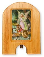 Guardian Angel Wood Holy Water Dispenser.
