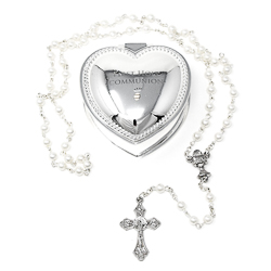 Heart Communion Rosary Box & Rosary.