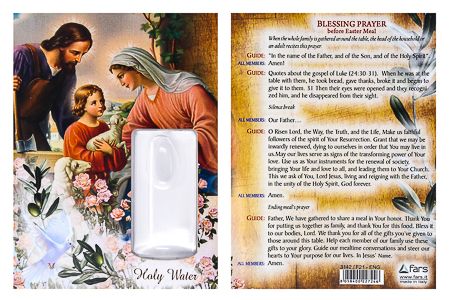 Holy Family Card and Holy Water Vial.