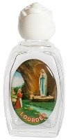 Glass Holy Water Bottle Our Lady of Lourdes.