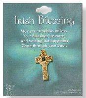 Irish Blessing Celtic Cross Brooch.
