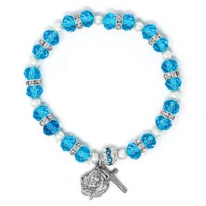 Blue Our Lady of Grace Rosary Bracelet.