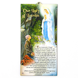 Lourdes Laser Cut Wall Plaque with Prayer.
