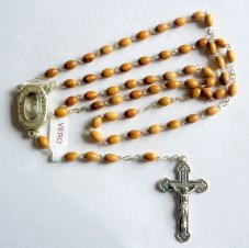 Lourdes Water Olive Oval Rosary Beads.
