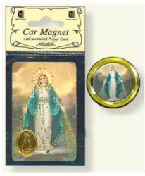 Miraculous Car Magnet & Prayer Card.