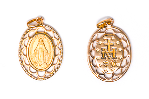 Our Lady of Grace Pendant with Scalloped Edges
