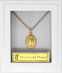 First Communion Miraculous Medal Necklace.