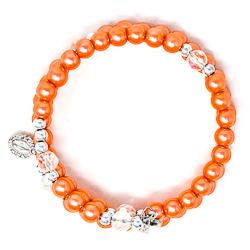 Peach Memory Wire Rosary Bracelet.