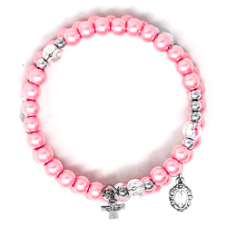 Pink Memory Wire Rosary Bracelet.