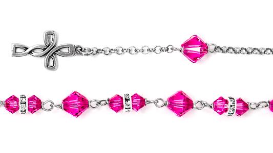 Pink Swarovski Rosary Bracelet.