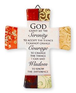 Porcelain Cross with Serenity Prayer.