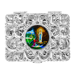 Rectangle Silver Rosary Box.